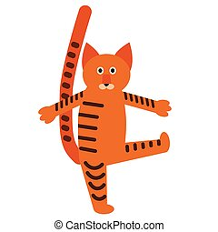 Red cat flat illustration on white