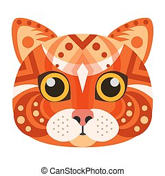Red Cat Head Logo. Vector decorative emblem.