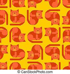 Red cat pixel art pattern seamless. 8 bit Digital home pet background. Vector ornament