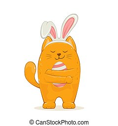 Red Cat with Bunny Ears Hugs Easter Egg