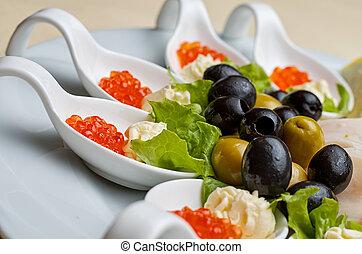 red, caviar