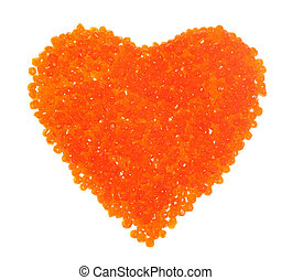 Red caviar in the form of heart