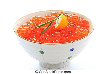 Red Caviar, salmon roe donburi - Red Caviar donburi ; ...