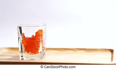 Red caviar, salmon roe, ikura raw