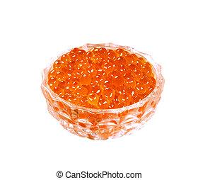Red caviar Salmon roe in glass jar