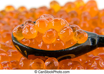 red caviar with wooden spoon