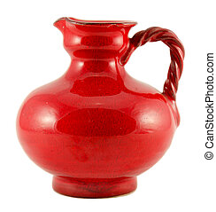 red ceramic old jug with handle isolated on white