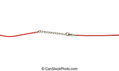 Red chain for pendant isolated on white background