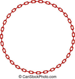 Red chain in shape of circle on white background