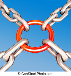 Red Chain Link Shows Strength Security