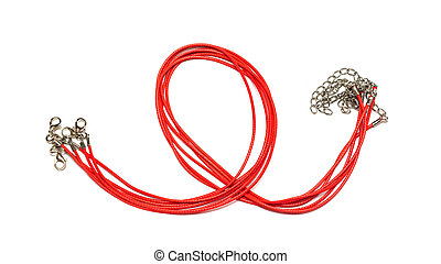 Red chains for pendant isolated on white background