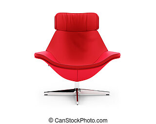 Red chair against white - isolated red chair against white...
