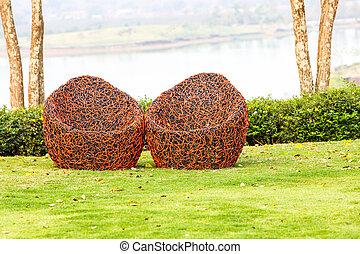 Red Chair in garden