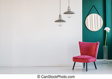 Red chair in living room
