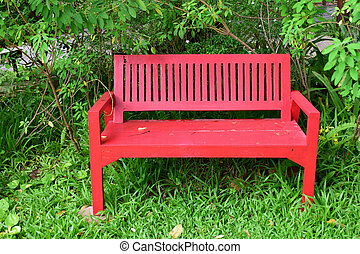 red chair in the garden.
