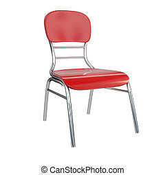 Red chair, isolated on white background. 3d illustration.