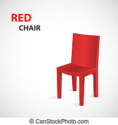 Red Chair Isolated. Vector