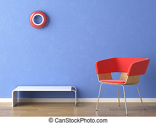 red chair, lamp and table on blue wall