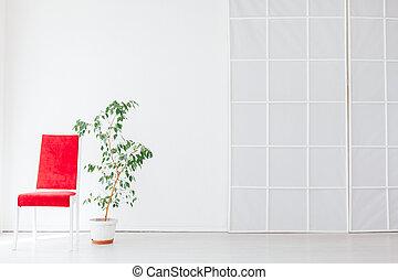 red chair with green plant in an empty white room