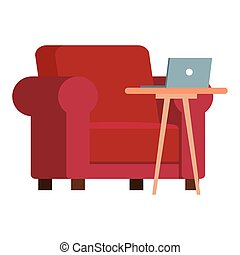 red chair with laptop on table vector design