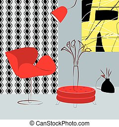 red chairs and table in room