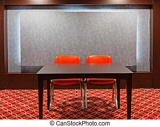 red chairs in empty conference hall
