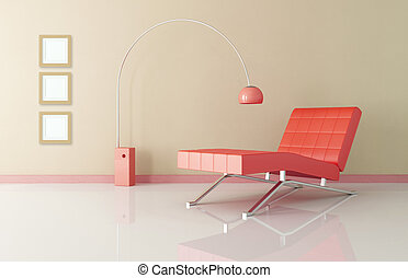 red chaise longue and lamp in amodern living room - rendering