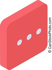 Red chat icon, isometric style
