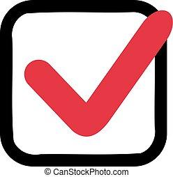 Red check in black box