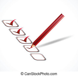 Red check list. Vector - illustration of check list and red...