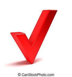 Red Check Mark. 3D Render Illustration