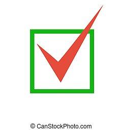 Red check mark icon. Tick symbol in green color, vector