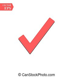 Red check mark icon. Tick symbol in red color, vector illustration.