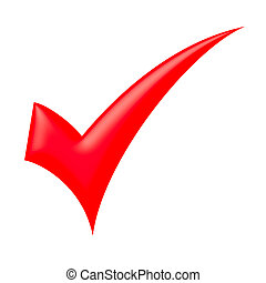 Red check mark - isolated on white