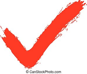 Red check mark sign addition icon. Quick and easy recolorable shape. Vector illustration a graphic element for web internet design.