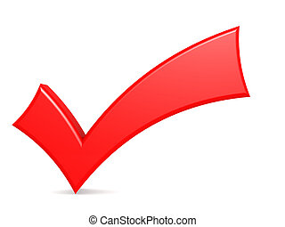 Red check mark standing over white background