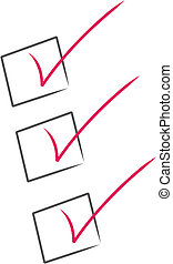 check list - red check marks inside black boxes - check list