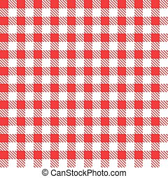 Red checkered fabric. Vector illustration.
