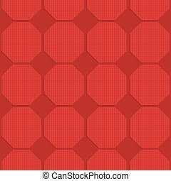 Red checkered octagons
