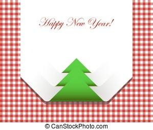 Red checkered picnic tablecloth with christmas tree