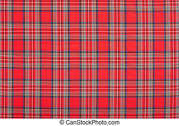 Red checkered tartan fabric texture background