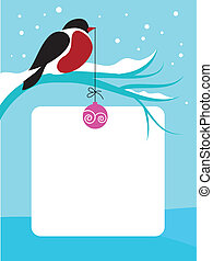 red chect bird on branch with snow