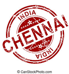 Red Chennai stamp with white background, 3D rendering