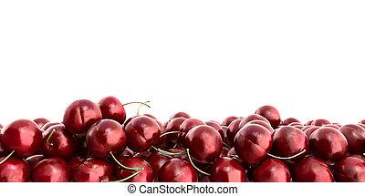 Red Cherries 3d render on white