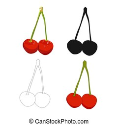 Red cherries vector illustration.