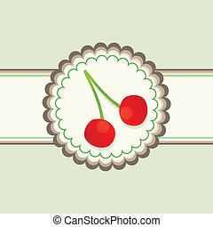 Red cherry berries vector background