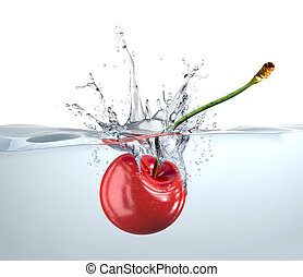 Red cherry falling into clear water and splashing. Close up view.
