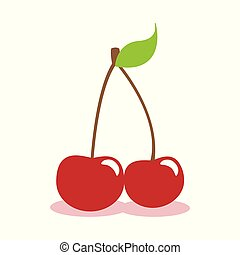 red cherry icon isolated on white background
