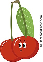 Red cherry, illustration, vector on white background.