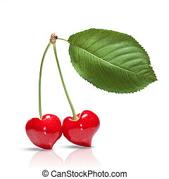 red cherry in shape of heart with leaf isolated on white